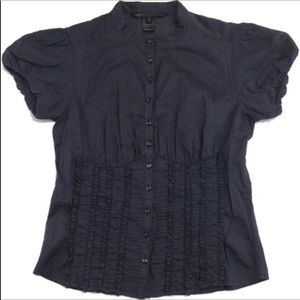 Marc by Marc Jacobs grey polka dot ruffled blouse